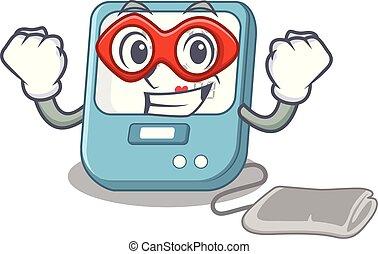 Super hero blood pressure in the mascot shape