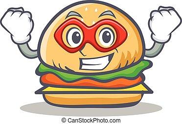 Super hero burger character fast food