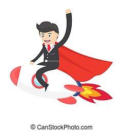 super hero business man flying by riding a rocket flat design vector illustration