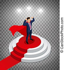Super Hero Businessman stands on a round podium with a red carpet. Awarding Ceremony. Editable vector illustration on a opacity background.