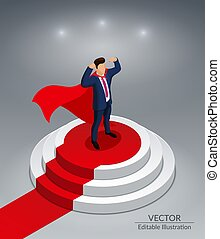 Super Hero Businessman stands on a round podium with a red carpet. Awarding Ceremony. Editable vector illustration on a gray background.