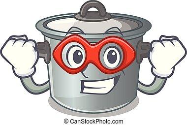 Super hero cartoon cookware stock pot in kitchen vector...