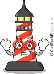 Super hero cartoon realistic red lighthouse building