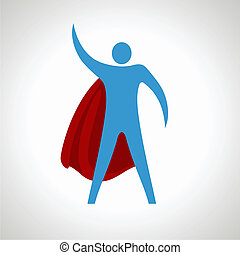 super hero cartoon silhouette icon. abstract illustration