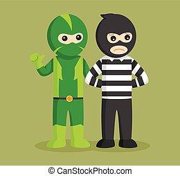 super hero catching thief