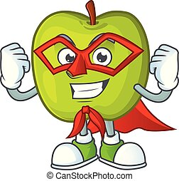 Super hero character granny smith green apple with mascot
