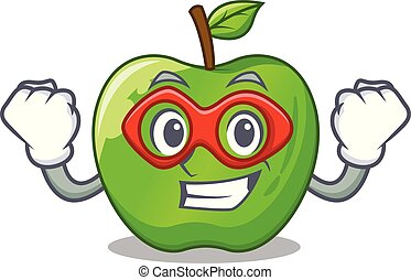 Super hero character ripe green apple with leaf