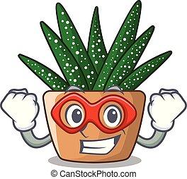 Super hero character small zebra cactus plant on pot