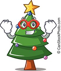 Super hero Christmas tree character cartoon