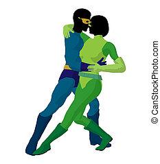 Super Hero Couple Illustration Silhouette - Super hero...