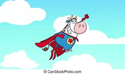 Super Hero Cow Cartoon Character Flying. 4K Animation Video Motion Graphics With Sky Background