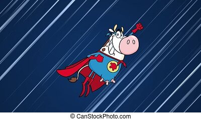 Super Hero Cow Cartoon Character Flying. 4K Animation Video Motion Graphics With Speed Lines Background