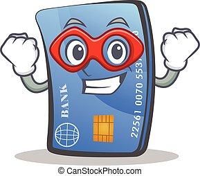 Super hero credit card character cartoon