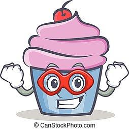 Super hero cupcake character cartoon style