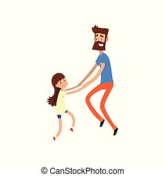 Super hero dad and his daughter having fun together vector Illustration on a white background