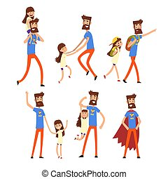 Super hero dad and his daughter set, super busy father doing many works vector Illustrations on a white background