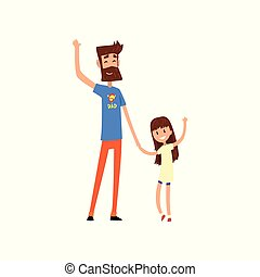 Super hero dad and his daughter waving hands vector Illustration on a white background
