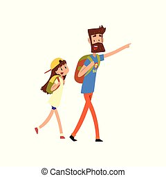 Super hero dad and his daughter with backpacks vector Illustration on a white background