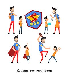 Super hero dad and his son set, super busy father doing many works vector Illustrations on a white background