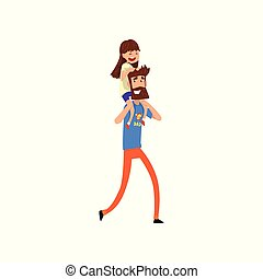 Super hero dad character carrying daughter on his shoulders vector Illustration on a white background