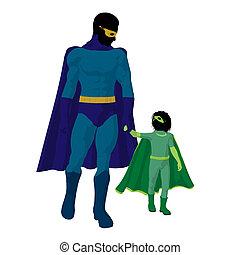 Super Hero Dad Illustration Silhouette
