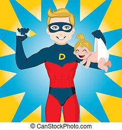 Super Hero Dad - Superhero Dad feeding newborn baby girl