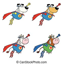 Super Hero Dog And Cow Cartoon Mascot Character Set 1. Collection