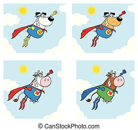 Super Hero Dog And Cow Cartoon Mascot Character Set 2.Collection