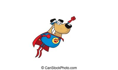 Super Hero Dog Cartoon Character Flying. 4K Animation Video Motion Graphics Without Background