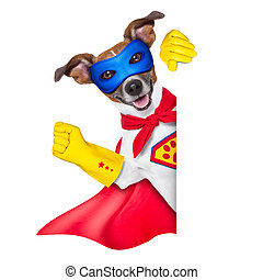 super hero dog with red cape and a blue mask beside a blank...