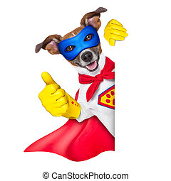 super hero dog with red cape and a blue mask beside a blank banner