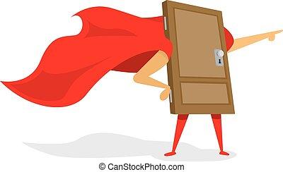 Super hero door with cape