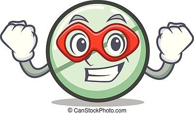 Super hero drug tablet character cartoon