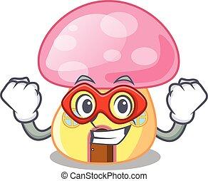 Super hero fairy House mushroom on a cartoon