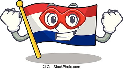 Super hero flag netherlands with the mascot shape