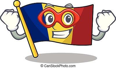 Super hero flag romania cartoon shaped on character