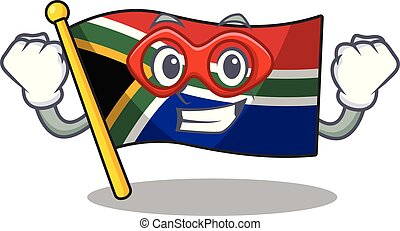 Super hero flag south africa with cartoon shape