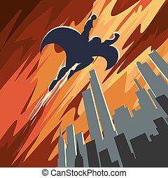 Super hero flying in the sky