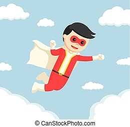 super hero flying on the sky