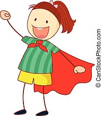 Super hero girl cartoon character in hand drawn doodle style isolated