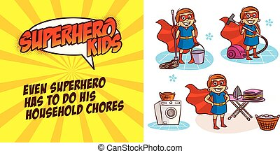 Super hero girl Cartoon character Vector illustration
