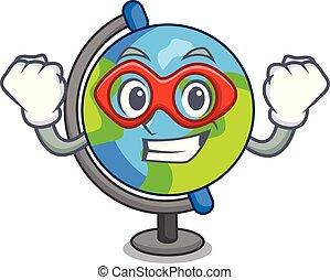 Super hero globe character cartoon style