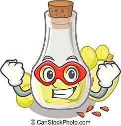 Super hero grape seed oil in cartoon bottle