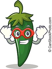Super hero green chili character cartoon