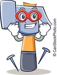 Super hero hammer character cartoon emoticon
