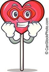 Super hero heart lollipop character cartoon vector ...