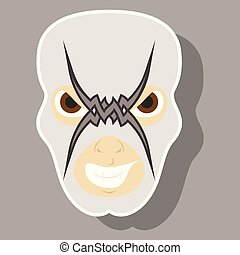 Super hero in mask . Icon in sticker style