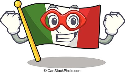 Super hero italy flags placed in cartoon tables