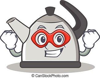 Super hero kettle character cartoon style vector...