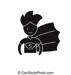 Super hero kid black vector concept icon. Super hero kid flat illustration, sign
